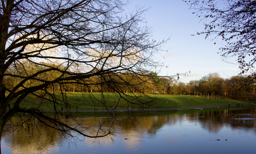 a view of a lake with a river and trees. park, sky, lake, colour, art, water, silhouette, liverpool, canon, landscape, photography, dslr, seftonpark, sefton, scouse, 600d. buy photo