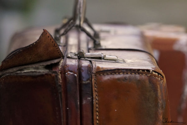 It's in the Bag. brown, macro, leather, torn, clasp, suitcase, stitched. buy photo