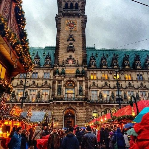 Christmas Market Hamburg, Germany  #Rathaus #Hamburg #Xmas #christmas #Germany #Alster #Market #spitalerstrasse #Weihnachtsmarkt #people #shopping #decoration #hdr #Travel #trip #journey   Photo by @Octavst  If you want to watch more videos about Germany. square, squareformat, iphoneography. buy photo