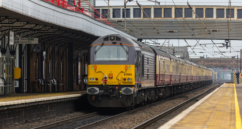 DB Class 67 no 67005 brings up the rear of a special London Kings X to Carlisle at Newark Northgate on 14-02-2015. uk, greatbritain, winter, england, cloud, cold, color, colour, colors, train, canon, town, flickr, colours, dof, cloudy, unitedkingdom, rail, railway, trains, steam, telephoto, trainstation, 5d, newark, february, skip, frontpage, dull, britishrail, steamengine, nottinghamshire, valentinesday, steamtrain, dbs, eastcoastmainline, cloudyday, 2015, drearyday, ecml, networkrail, 67005, newarknorthgate, railnetwork, dbschenker, canon5dmk3, 5dmk3, 5d3, 5diii, thephotographyblog, canon70200f28ismk2, canoneos5dmk3, ilobsterit. buy photo