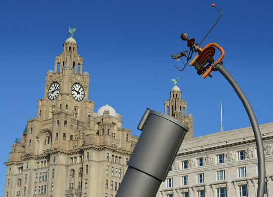 Sculptures near the Royal Liver Building in Liverpool. county, uk, blue, england, sky, tower, clock, face, architecture, liverpool, stream, tour, open, place, northwest, country, north, grand, visit, icon, location, lancashire, area, highrise, tall, northern, update, iconic, mersey, attraction, merseyside, lancs, royalliverbuilding, souse, welovethenorth, ©2015tonyworrall. buy photo