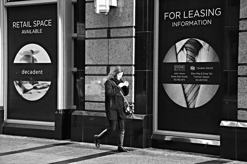 """Texting"" - Chicago - 29 NOV 2014 - 009. street, city, urban, blackandwhite, bw, chicago, canon, walking, phone, zwartwit, victim, streetphotography, cell, target, disconnected, prey, survival, spacecadet, statistic, casualty, straat, 6d, straatfotografie, crimestatistic, andresstreetphotography, andrevanvegten. buy photo"