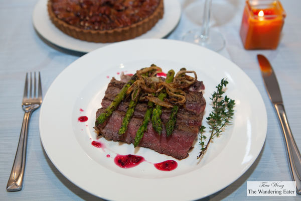 Seared steak, asparagus topped with fried onions. thanksgiving, thanksgiving2014. buy photo
