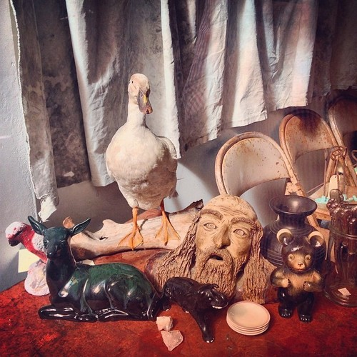 A set of weird objects at one of the antique shops at K Rd #nz #newzealand #krd #auckland #akl #duck #deer #painting. square, sierra, squareformat, iphoneography. buy photo