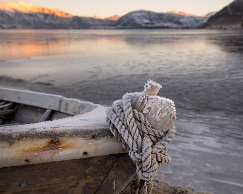 Boat, Lofoten. winter, light, sea, seascape, ice, landscape, coast, boat, lofoten, borge, vestvågøy. buy photo