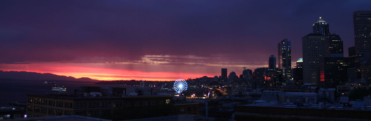 Seattle after the storm. seattle, sunset, skyline, evening, downtown, digitalframe, ilobsterit. buy photo