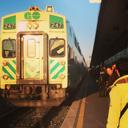 a train is parked at a train station. buy photo