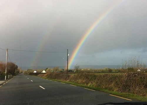 Somewhere over the rainbow ...... ireland, sky, irish, car, rain, weather, countryside, rainbow, kerry, double, electricity, telegraphpole, windscreen, castleisland, htt, iphone4, ilobsterit, telegraphtuesday. buy photo