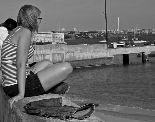 Girl profile. leica, blackandwhite, portugal, blackwhite, legs, candid, creativecommons, shorts, cascais, crossedlegs, crossinglegs, blackwhitephotos, candidgirl, streetpassionaward, blackwhitepassionaward, bwmaniacv2. buy photo