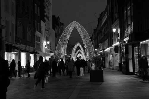 a city street filled with lots of traffic. christmas, street, xmas, england, london, canon, eos, lights, mayfair, westend, 60d. buy photo