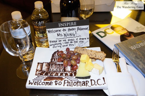 A warm welcome with cheese and wine. hotel, washingtondc, hotelpalomar, kimptonhotel. buy photo