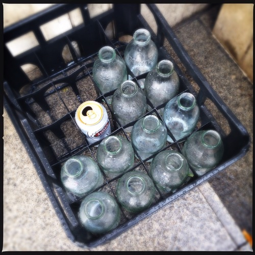 Empty milk bottles + a can of Stella Artois for the milkman #Hipstamatic #Photography. camera, phone. buy photo