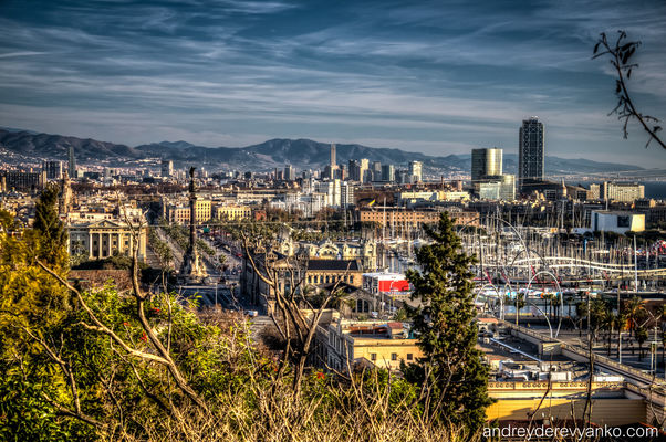 City and the Mountains. barcelona, spain, europe, view, catalonia, vista, hdr, mirador, montjuic. buy photo