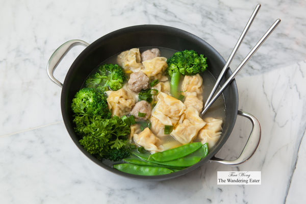Homemade wontons for two cooked in an Anolon Nouvelle Copper Stainless Steel 3.5 quart pot. anolon. buy photo