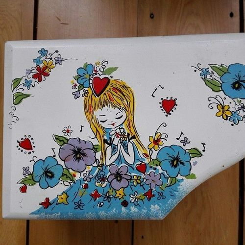 Op-shop find, Japanese music jewelry box with dancing ballerina. Hand painted.. square, squareformat, iphoneography. buy photo