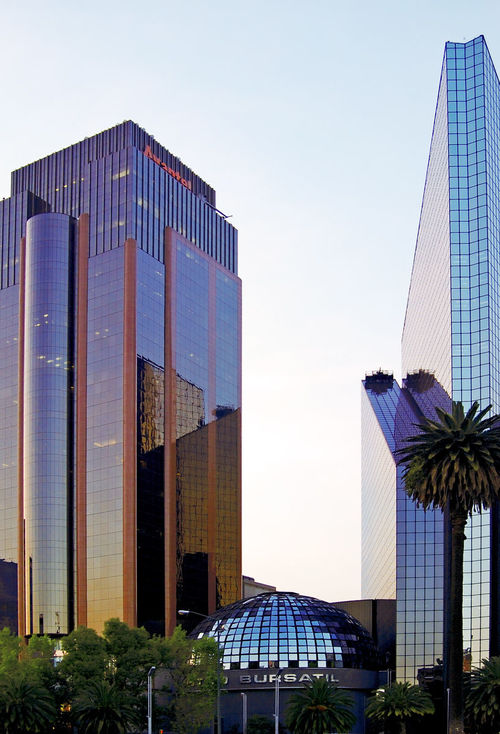 In the evening just after the sunset.... city, urban, architecture, modern, evening, mexicocity, stockexchange, exico. buy photo