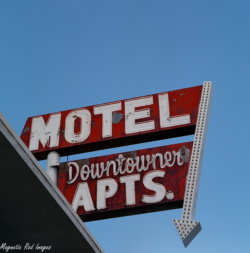 Downtowner Apts. red, tlr, downtown, lasvegas, bluesky, faded, rusted, arrow, motelsign, yashicad, ektar100. buy photo