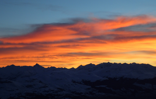 Laax Mountainhostel Sunset view. buy photo