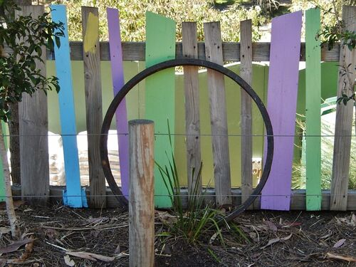 Pickets with Circle. circle, zoo, post, painted, adelaide, pickets. buy photo