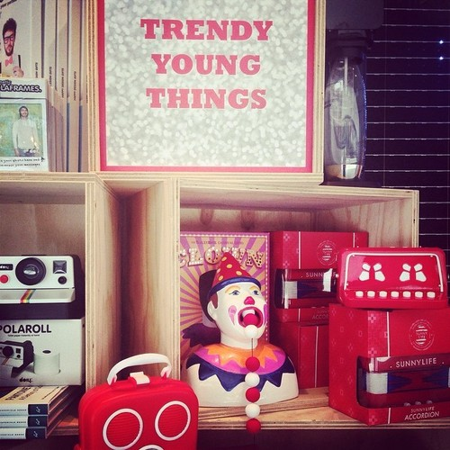 """Trendy young things"" and the weird ball-eating clown in Brisbane #au #shop #australia #brisbane #brisbanecbd #red. square, squareformat, iphoneography. buy photo"