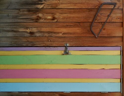 Coloured Planks and Saw. zoo, saw, stripes, adelaide, coloured, planks, tool. buy photo