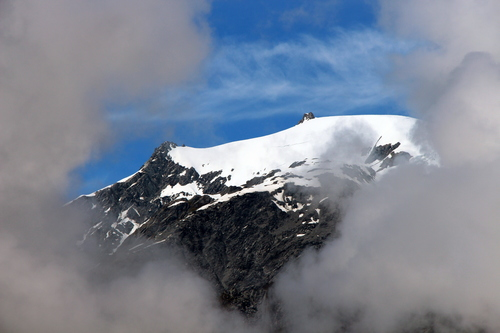 Mountain In The Mist. newzealand, mist, mountain, holiday, snow, southernalps, 2014, franzjoseph. buy photo