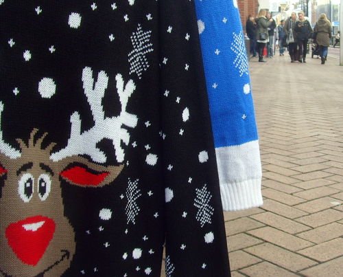 Christmas jumpers still on sale. county, street, xmas, uk, england, fun, stream, tour, open, place, sale, candid, country, north, visit, location, clothes, area, buy, preston, wooly, sell, northern, update, jumpers, attraction, fishergate, christmasjumpers, ©2014tonyworrall, welovethenorth. buy photo
