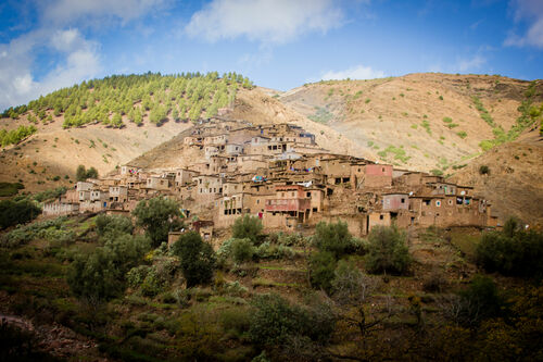 Berber Village - Atlas Mountains, Morocco. africa, travel, cloud, mountain, holiday, nature, clouds, trekking, canon, landscape, outdoors, photography, interesting, village, northafrica, hiking, adventure, explore, climbing, atlasmountains, morocco, berber, valley, atlas, marrakech, marrakesh, dslr, highatlas, joemarshall, jgmarshall. buy photo