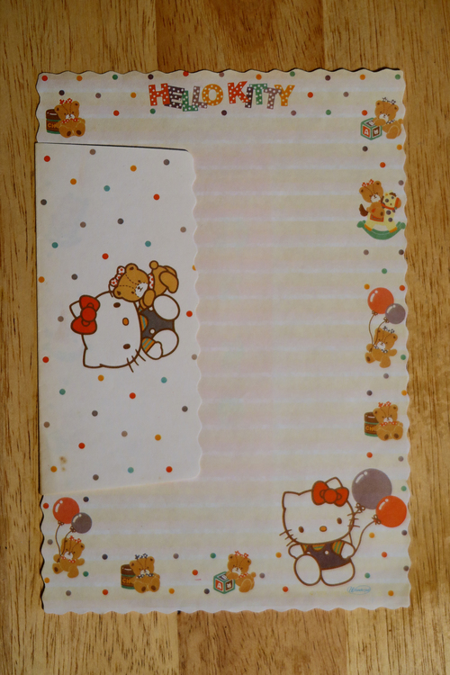 Vintage Hello Kitty writing paper & envelope. hello, set, writing, vintage, paper, kitty, envelope, letter, stationery, letterset. buy photo