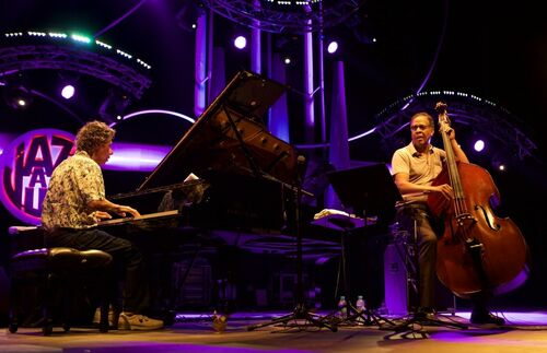 Stanley Clarke and Chick Corea at Jazz a Juan 2014 6. buy photo