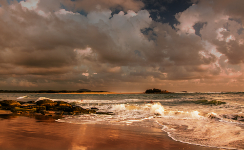 Swimmers. sea, sky, seascape, water, clouds, landscape, seaside, qld, stormcloud, maroochydorebeach, ilobsterit. buy photo