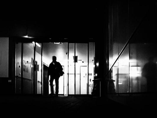Going home.... man, silhouette, darkness, streetphotography, streetlife, streetview, streetshot, blackwhitestreetphotography. buy photo