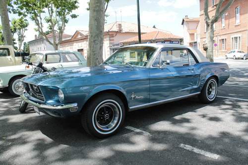 Ford Mustang. old, france, ford, car, festival, automobile, voiture, american, 1967, mustang, transports, tarn, ancienne, 2014, véhicule, américaine, lavaur, rockcars. buy photo